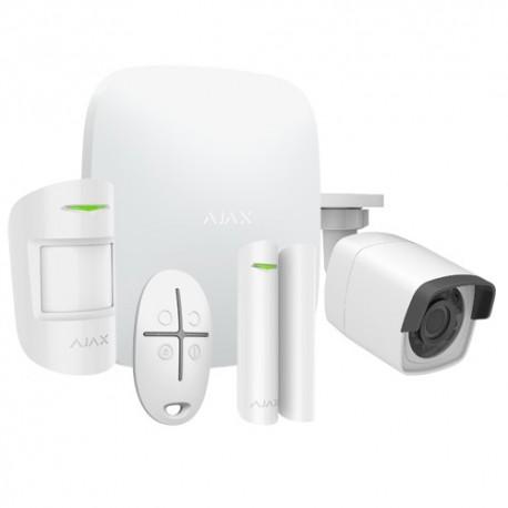 Ajax AJ-HUBKIT-W-CAM Kit de Alarme Profissional Certificado Grau 2 com Câmara IP Wi-Fi Branco