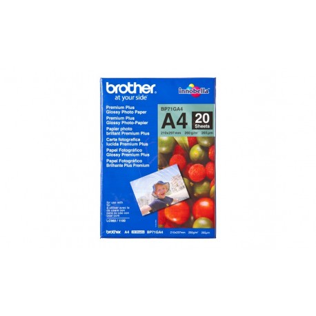 Papel BROTHER Fotografico Glossy 20 Uni A4 260g/m2 - 4977766658416