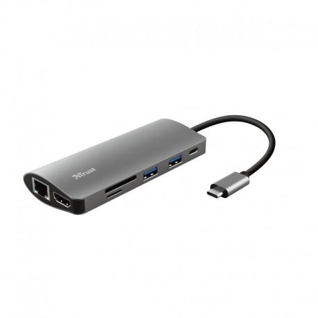 Trust Dalyx Multiportas 7 em 1 Placa/Adaptador de Interface Interno HDMI, RJ-45, USB 3.2 Gen 1 (3.1 Gen 1), Alumínio - 8713439237757