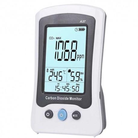 Oem MT-CO2-A37 Medidor de CO2 Temperatura e Humidade com Alarme Visual e Sonoro Programável pelo Utilizador, Bateria - 6935750537022