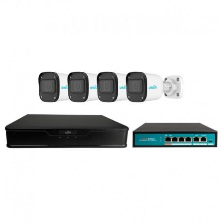 Uniarch UV-KIT101-B44XPOE Kit de Videovigilância XVR 4CH até 6 IP, 4 Câmaras Bullet IP67, Switch Hi-PoE