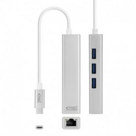 Nanocable 10.03.0404 Adaptador APPLE USB-C para Ethernet Gigabit + 3x USB 3.0, 15 cm, Prateado - 8433281009516