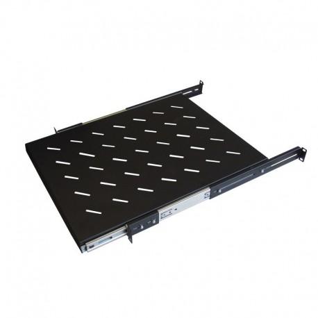 WP RACK Four Ears Sliding Shelf for Racks Depth 600 mm Black RAL 9005 Depth 350 mm - 8056045872043