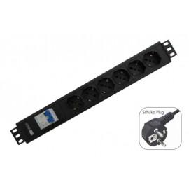 "WP RACK 19"" PDU VERTICAL 12 X Schuko Sockets 2PH Circuit Braker Schuko Plug - 8056045875235"