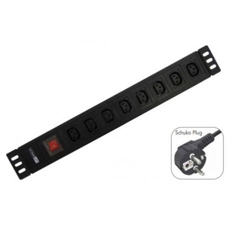"WP RACK 19"" PDU 8 X IEC VDE Sockets On/Off Switch Schuko Plug - 8056045871459"