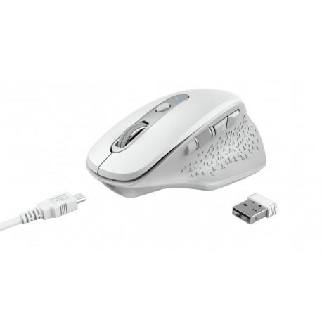 Rato Sem Fios Trust Ozaa Mão Direita RF Wireless Ótico 2400 DPI Branco - 24035 - 8713439240351