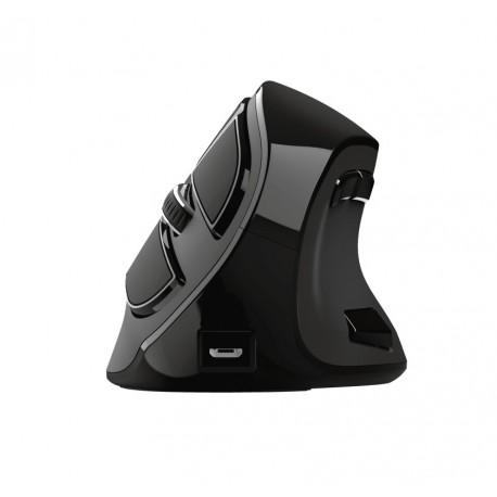 Rato Trust Voxx Mão Direita Ergonómico Design Vertical Recarregável RF Wireless + Bluetooth Ótico 2400 DPI Preto - 23731 - 8713439237313