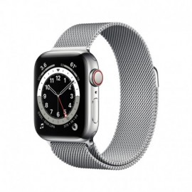 Apple Watch Series 6 GPS + Cellular 40mm Silver Stainless Steel Case with Silver Milanese Loop - 0190199835702