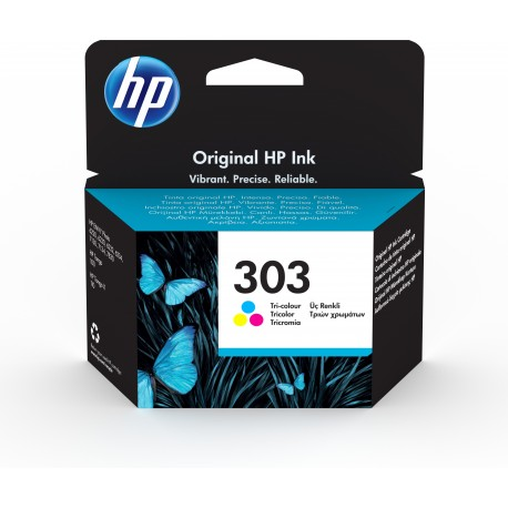 HP 303 Tri-color Original Ink Cartridge Tinteiro Rendimento Padrão Ciano, Magenta, Amarelo - Envy Photo 6230/7130/7830 - 0190780570999