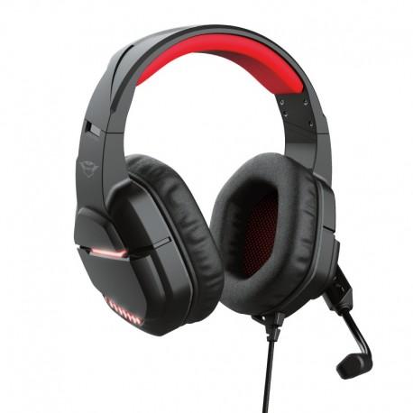 Trust GXT 448 Nixxo Auscultadores Gaming Fita de Cabeça Conetor 3,5 mm USB Type-A, Rotativo, 2,3 m, Preto, Vermelho - 8713439240306