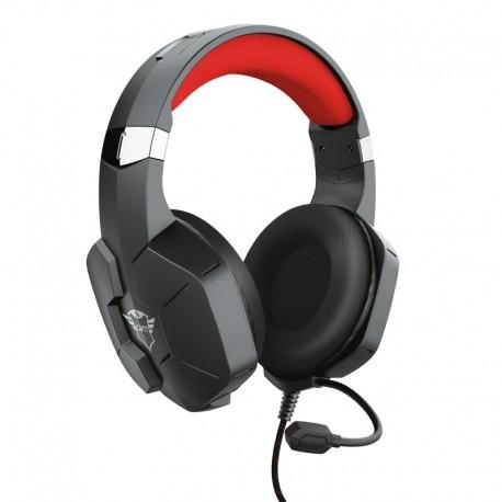 Trust GXT 323 Carus Auscultadores Gaming Fita de Cabeça Conetor 3,5 mm 1,2 m Binaural Preto, Vermelho - 8713439236521