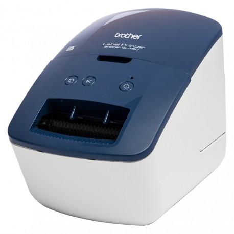 Brother QL-600B Impressora de Etiquetas Acionamento Térmico Direto 300 x 600 DPI com fios DK 71 mm/seg, Azul, Branco - 4977766798471