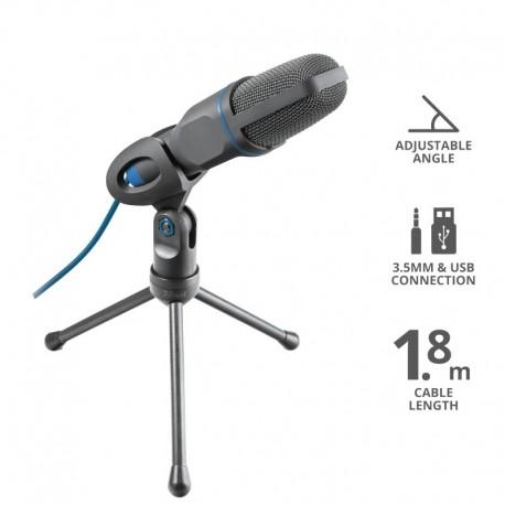 Trust 23790 Mico, Microfone para PC, -45 dB, 50 - 16000 Hz, 2200 Ω, Omnidirecional, Com Fios, Preto, Azul - 8713439237900