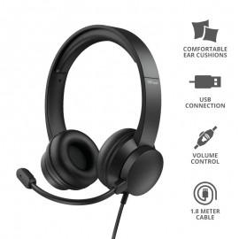 Auriculares Trust Hs-200 On-ear 24186 Con Micrófono Usb Negros - 8713439241860