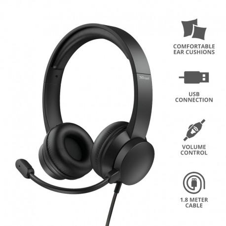 Trust 24186 HS-200 Auscultadores, Fita de cabeça, Conetor 3,5 mm, USB-A, Rotativo, Binaural, Preto - 8713439241860