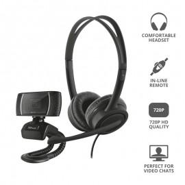 Pack 2 En 1 Trust Doba Home Office Set Webcam + Auriculares Con Micrófono - 8713439240368