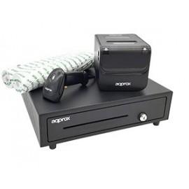 Pack TPV APPROX 4180 - Impressora POS80AMUSE + Gaveta CASH01 + Scanner LS02AS + Rolo - 8435099527404