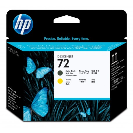 HP 72 C9384A Cabeça de Impressão Jato de Tinta Preto Mate e Amarelo, Original - 0808736779623