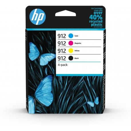 HP Conjunto de 4 Tinteiros Originais 912 Preto, Ciano, Magenta, Amarelo, Cartucho de Tinta, Pacote Combinado - 0195122352295