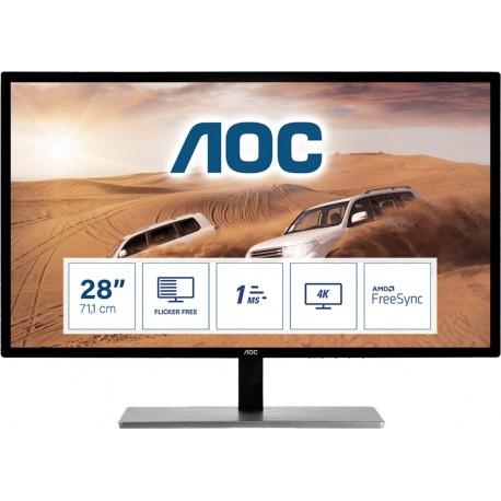 "AOC 79 Series U2879VF Monitor, 71,1 cm, 28"", 4K Ultra HD, LCD, Preto, Prateado - 4038986185714"