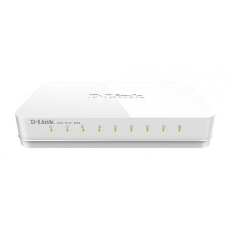 D-Link GO-SW-8G Switch de Rede Não-gerido (10/100/1000), Full Duplex, RJ45, 8 Portas, Branco - 0790069365690