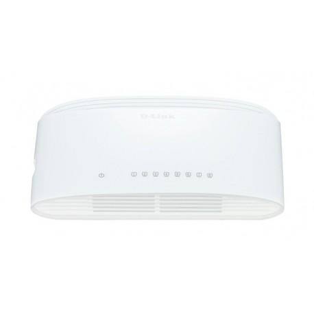 D-Link DGS-1008D/E Switch de Rede Não-gerido L2 Gigabit Ethernet (10/100/1000), Full Duplex, RJ45, 8 Portas, Branco - 0790069252747